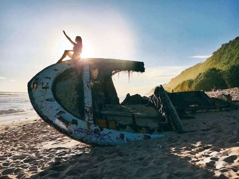 Bali, Bukit, Cliff, beach, ocean, waves, Nyang nyang, boat, Бали, Букит, утес, океан, пляж, лодка, Ньянг Ньянг