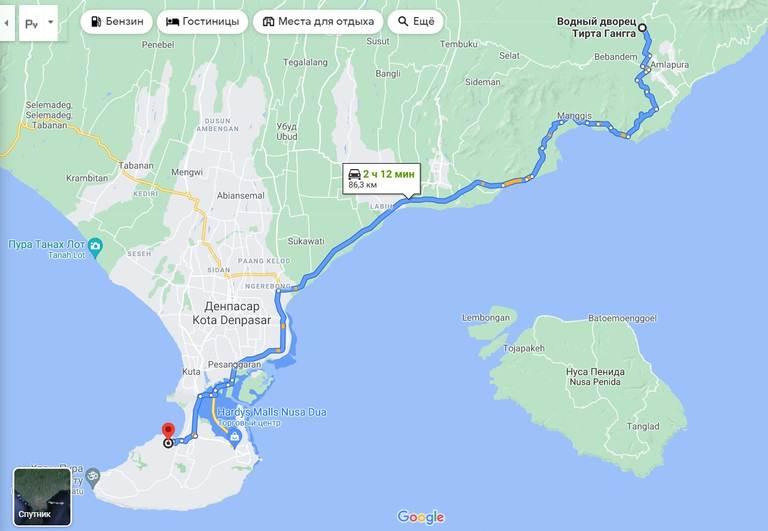 Водный дворец Тиртаганга на Бали, карта
